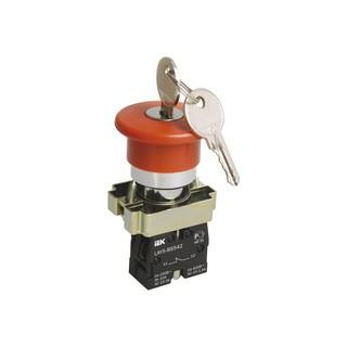 Кнопка LAY5-BS142 Грибок с ключом крас. d22мм 240В 1р ИЭК