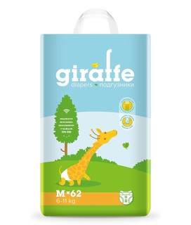 Подгузники Giraffe M (6-11 кг) Lovular, 62 шт