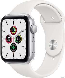 Умные часы Apple Watch SE 44 мм (алюминий серебристый/белый спортивный) (61959)