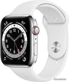 Умные часы Apple Watch Series 6 LTE 44 мм (сталь серебристый/белый спортивный) (57148)